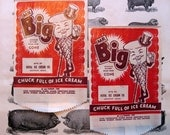 Vintage Ice Cream Packaging, Mr. Big Cone, Chuck Full of Ice Cream, 1948, Two Bags