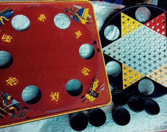 CHINESE CHECKERS GAME Vintage board game, metal, painted, us made