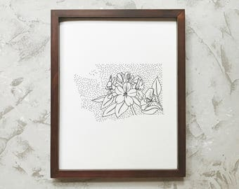 Washington> Pacific Rhododendron> State Flower Drawing> Giclee Print