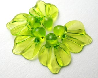 Lime Green Leaf Glass Leaves Artisan Lampwork Beads, handmade supplies