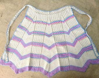 Vintage Crochet Apron Hand Crocheted Chevron Kitchen Linens Half Waist Apron Pink Aqua Blue Beige 1940's 1950's MINT