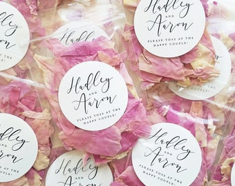 Wedding Petal Toss Packets - Biodegradable Flower Confetti Bags - Dried Lavender Buds, Pink, White, Ivory, Red, Purple, Peach Rose Petals