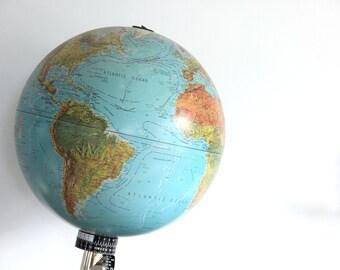 Light Up Illuminated Blue Water Spot World Globe