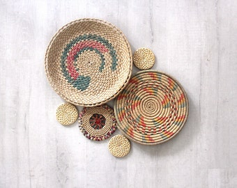 Collection of Boho Vintage Straw Wall Weavings Baskets