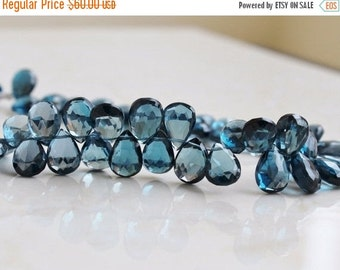 Black Friday Sale Outrageous London Blue Topaz Briolette Faceted Pear TearDrop 10.5 to 11mm 5 beads AB