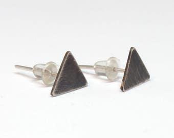 Black triangle stud earrings, minimalist black earrings, silver triangle earrings