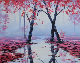 Trees print , painting prints, pink print, tree pictures , pink decor, downloadable prints from my Original Oil Painting