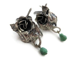 Sterling Flower Earrings - Wingback Style, Silver Roses with Turquoise Dangles