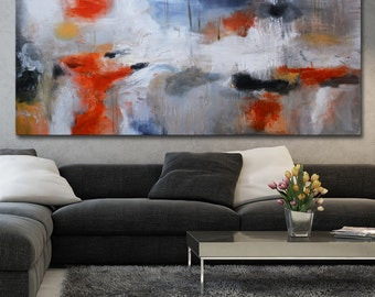 Abstract painting horizontal large taupe grey painting minimalist black orange abstract Large abstract painting long huge free shipping