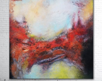 Large Abstract Painting, original painting, Red Grey Abstract, Mixed Media Abstract, High End Unique Painting, red gray painting, lobby art