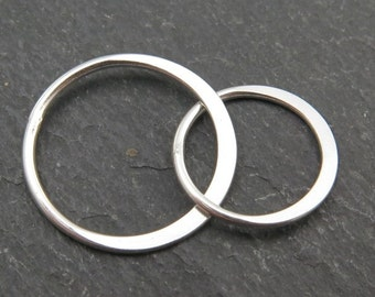 Sterling Silver Double Circle Connector 16mm x 12mm (CG8655)