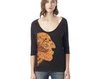 Raglan 3/4 Sleeve T shirt Top - Shimmer Metallic Copper Maroon Mask Print - African Tribal Print