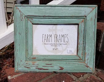 5 x 7 GREEN old vintage wood picture frame