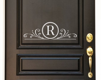 Door Decal - Monogram Letter with scrolls Decal - Family Decal - Farmhouse Style Decor - Wedding Gift - Family Monogram - Personalized Door