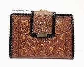 Vintage Madrid Tooled Leather Wallet Clutch, Brown Embossed Leather