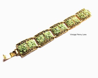 Vintage Gold Chain Bracelet, Green Jade Chip Stones by CENTURY