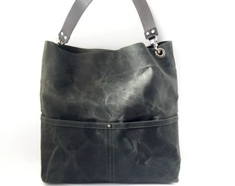 Waxed Canvas Tote Bag, Canvas Bucket Bag, Everyday Bag, Casual Tote Bag, Handbag, Hobo Bag, Dark Olive Green