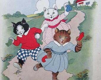 Vintage Child's Nursery Print, Three Little Kittens Fine Their Mittens, Original 1920's Print, Kitten Children, Nursery Decor