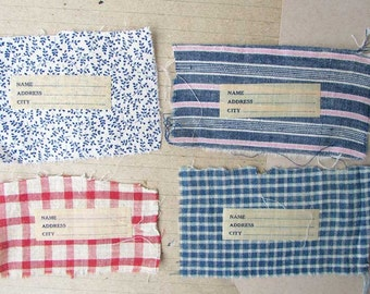 Antique 1900 Vintage Cotton Scrap Fabrics & Linen Name Tags for Creative Uses, Primitive Name Tags, Calico Fabrics, Scrapbook Tags, 4 Labels