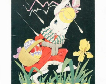 Vintage 1920's Easter Bunny with Basket of Eggs Child's Illustration, Bookplate Print, Mom Bunny w Eggs in Spring Rain