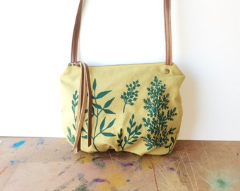 date purse  • crossbody bag - floral print • teal botanical print - dijon canvas - gifts under 50 - screenprinted - fall fashion • native