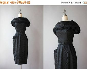 STOREWIDE SALE 1950s Alix of Miami Wiggle Dress / 50s Polka Dot Fringed Wiggle Dress / 50s Little Black Dress XS extra small