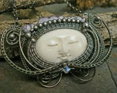Dark Silver Carved Bone Face Queen with Amethyst Crown