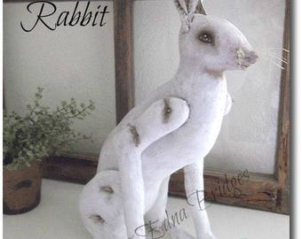 Instant Download PDF EPattern Primitive Folk Art Vintage Inspired Cloth Rabbit Doll Sewing and Painting Pattern by Edna Bridges