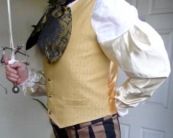 Gold Swirl Tapestry and Satin Gentlemen's Steampunk Vest