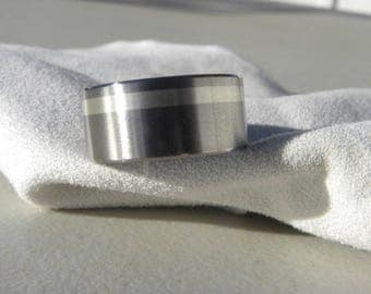 Titanium Ring with Offset 2mm Silver Inlay, Wedding Band AX89