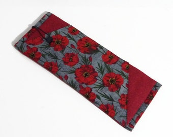 Insulated Curling Iron or Flat Iron Pouch, Red Poppy Print, Red and Gray
