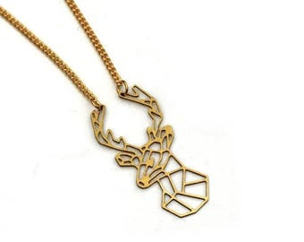 Gold Stag Necklace, Geometric Deer, Stag Charm Necklace, Woodland Jewelry, Animal Necklace