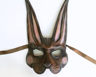 Big Brown Rabbit or Hare Leather mask by Teonova with pink detail victorian easter bunny