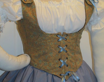 DDNJ Fully Reversible Corset Style Front Lace Underbust Bodice Plus Custom Made ANY Size Renaissance Pirate Anime Wench Steampunk Cosplay