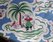 1940s NOVELTY PIRATE Print Vintage 40s Cotton Fabric Feedsack - Deadstock Colorful fabric for dress making quilting vintage yardage yards