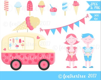 Digital Clipart - Instant Download - Ice Cream Van - Happy Children - Summer - Cute Girl and Boy - 300 dpi - JPEG and PNG