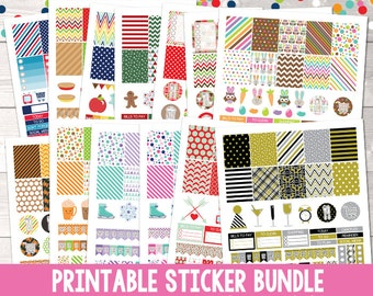 Holiday Printable Planner Sticker Bundle, 25 Printable Planner Sticker Weekly Kit Sets, Printable PDF Files