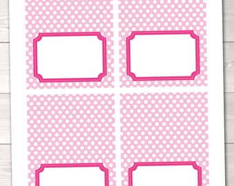 Instant Download Food Beverage Labels Printable Pink Polka Dotted Buffet Cards for Parties and Showers Girls Polka Dotted PDF