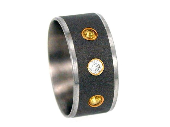 Titanium Ring, Set Diamond and Yellow Sapphires, Yellow Gold Settings