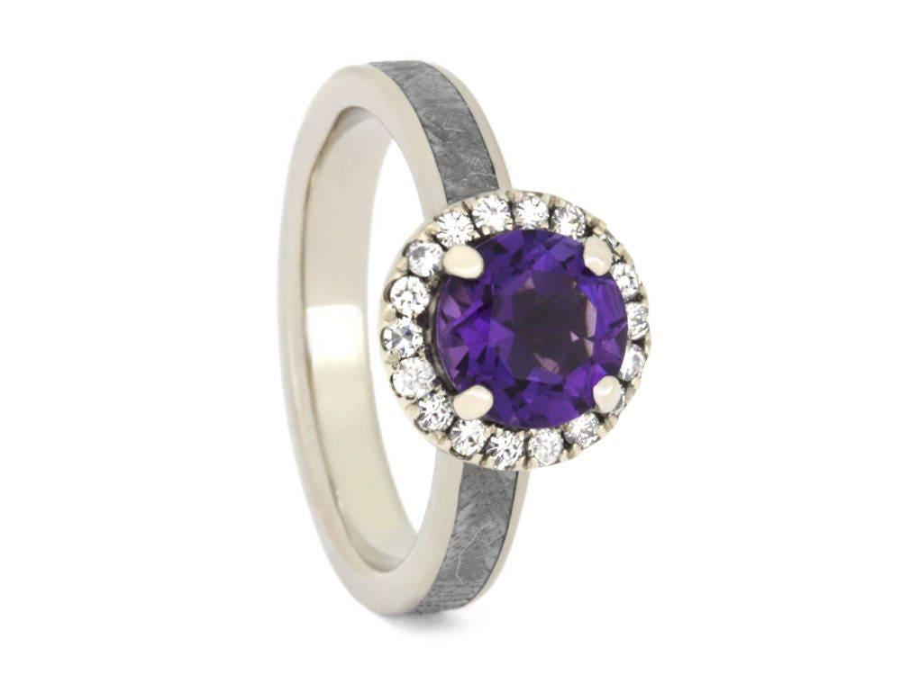 amethyst engagement ring moissanite halo ring in 14k white