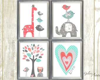 Gray and Coral turquoise Nursery Decor Baby Girl Nursery Art Baby Nursery wall art Giraffe Elephant Birds Heart Love Set of 4 prints