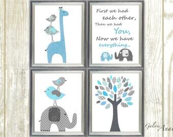 You are my sunshine Nursery art prints baby boy nursery decor kids wall art Giraffe nursery bird elephant Blue gray Nursery Set of 4 prints