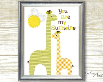 Nursery art prints - baby nursery - nursery decor - nursery wall art - kids art - giraffe - You Are My Sunshine print