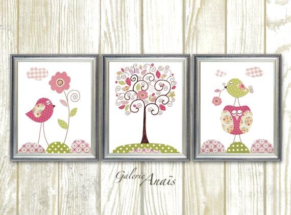 Girl Nursery Wall Art, Baby nursery decor wall Art Girl, Bird Nursery, owl, tree, Set of 3 Prints - Chic And Shabby