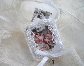 Bouquet Wedding Memento Photo Remembrance For Bride Heart Pearls Keepsake As Seen At Martha Stewart Wedding Party Handmade handcraftusa