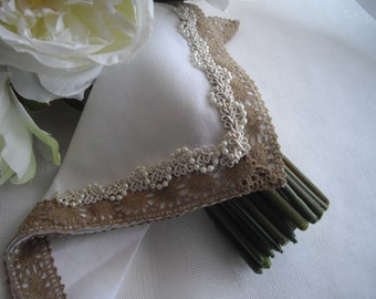 Bouquet Wrap Linen Memento Handkerchief Burlap and Pearls Shower Gift MOB MOG Thank You Gift Handmade by Marilyn Handcraftusa Etsy