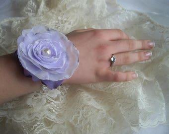 Lavender Singed Feminine Flower Wrist Adornment Comfort Wrist Bracelet Special Occasion Wedding Bride MOB MOG Singed Designed handcraftusa
