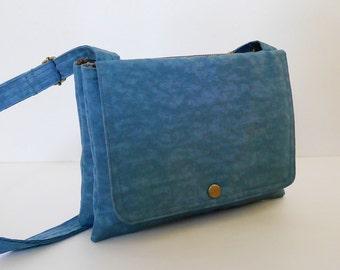 Sale - Dark Skyblue Water Resistant Nylon Messenger Bag - Shoulder bag, Cross body, Hip bag, Travel bag, Women - WENDY