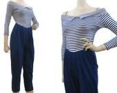 Vintage 80s Jumpsuit Off Shoulder Harem Pants Striped Blue Capri S