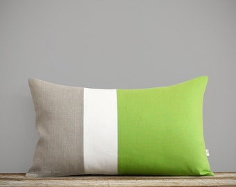 Lime Lumbar Pillow Cover, Cream & Natural Linen Colorblock Stripes by JillianReneDecor, Apple Green, 2017 Pantone Color of the Year, Lime